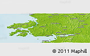 """Physical Panoramic Map of the area around 39°30'19""""N,121°37'30""""E"""