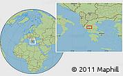 "Savanna Style Location Map of the area around 39°30'19""N,21°19'30""E"