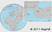 Gray Location Map of Balıkesir