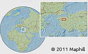 Savanna Style Location Map of Balıkesir, hill shading