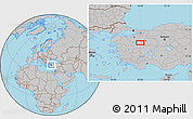 Gray Location Map of Kütahya