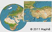 Satellite Location Map of Kütahya