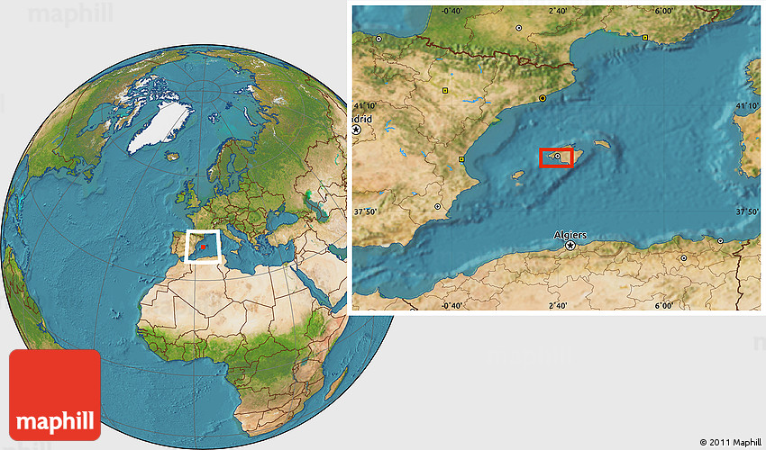 Satellite Location Map of Palma De Mallorca