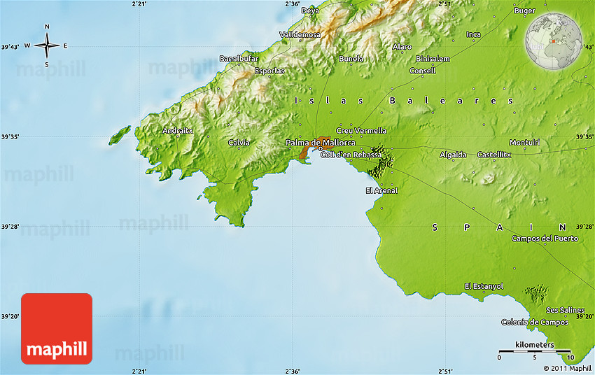 Physical Map of Palma De Mallorca