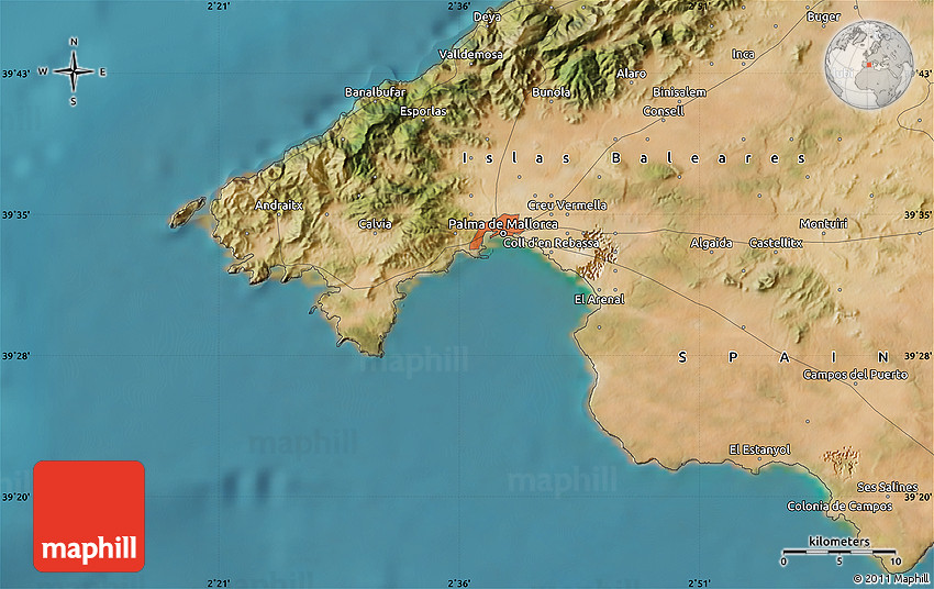 Satellite Map Of Palma De Mallorca