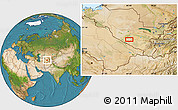 """Satellite Location Map of the area around 39°30'19""""N,64°40'30""""E"""