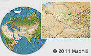 """Satellite Location Map of the area around 39°30'19""""N,65°31'30""""E"""