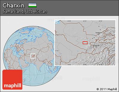 Gray Location Map of Charxin, hill shading