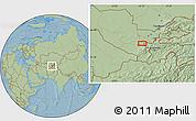 Savanna Style Location Map of Shingak, hill shading
