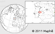 """Blank Location Map of the area around 39°30'19""""N,6°43'29""""W"""