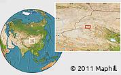 Satellite Location Map of Dangchengwan