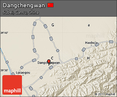 Shaded Relief Map of Dangchengwan