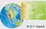 """Physical Location Map of the area around 39°30'19""""N,95°58'29""""W"""