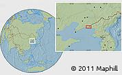 Savanna Style Location Map of Wenzikou, hill shading