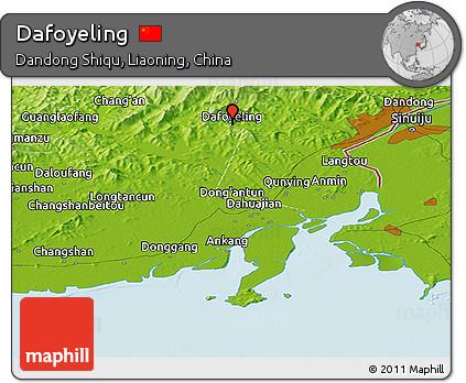Physical Panoramic Map of Dafoyeling