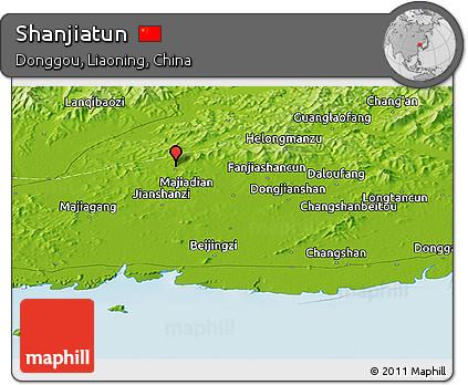 Physical Panoramic Map of Shanjiatun