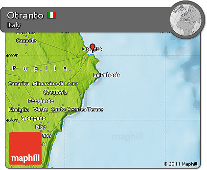 Otranto Italy Map.Free Physical Map Of Otranto