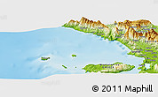 "Physical Panoramic Map of the area around 39° 57' 6"" N, 19° 37' 30"" E"