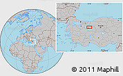 Gray Location Map of Eskişehir