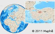Shaded Relief Location Map of Eskişehir