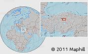 Gray Location Map of Ankara, hill shading