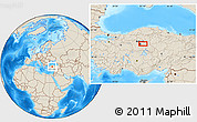 Shaded Relief Location Map of Ankara