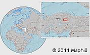 Gray Location Map of Yozgat, hill shading