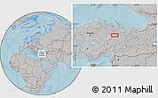 Gray Location Map of Sivas, hill shading