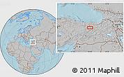 Gray Location Map of Erzincan, hill shading