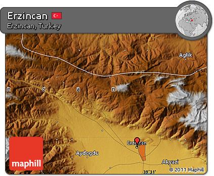 Free Physical Map of Erzincan