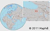 Gray Location Map of Erzurum