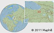 Savanna Style Location Map of Erzurum, hill shading