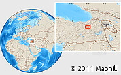 Shaded Relief Location Map of Erzurum