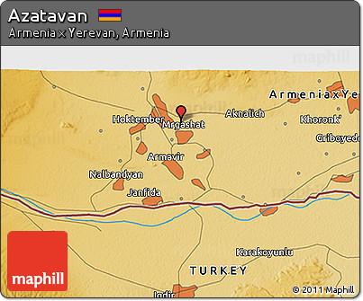 Free Physical 3D Map of Azatavan