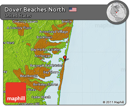 Free Physical Map of Dover Beaches North