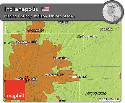 Free Physical Map Of Indianapolis - Indianapolis-in-us-map