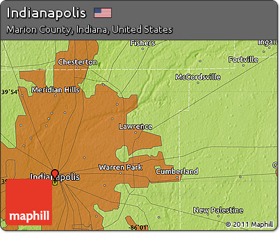 Free Physical Map Of Indianapolis - Indiana physical map