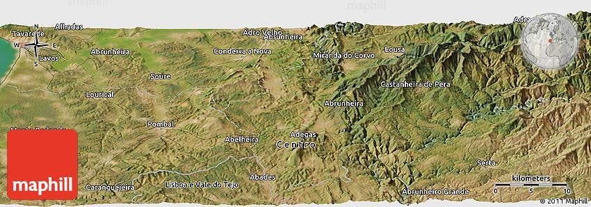 Satellite Panoramic Map of Leiria
