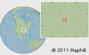 """Savanna Style Location Map of the area around 39°57'6""""N,95°7'30""""W, hill shading"""