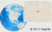 """Shaded Relief Location Map of the area around 39°57'6""""N,95°58'29""""W"""