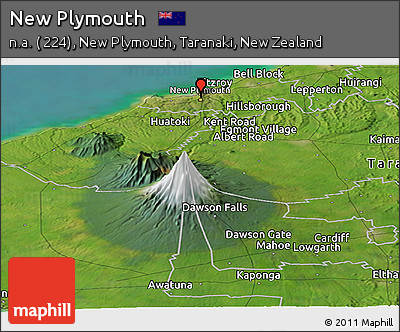 Free Satellite Panoramic Map of New Plymouth