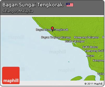 Free Physical Panoramic Map of Bagan Sungai Tengkorak