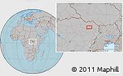 Gray Location Map of Bangabila, hill shading
