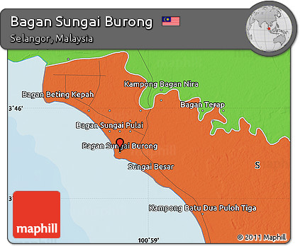 Free Political Map of Bagan Sungai Burong