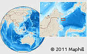 """Shaded Relief Location Map of the area around 3°51'2""""N,119°4'29""""E"""