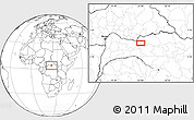 """Blank Location Map of the area around 3°51'2""""N,23°1'29""""E"""