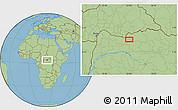 "Savanna Style Location Map of the area around 3°51'2""N,23°1'29""E"