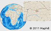 """Shaded Relief Location Map of the area around 3°51'2""""N,23°1'29""""E"""