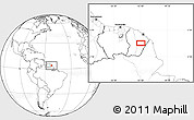"""Blank Location Map of the area around 3°51'2""""N,52°37'30""""W"""