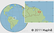 """Savanna Style Location Map of the area around 3°51'2""""N,52°37'30""""W"""